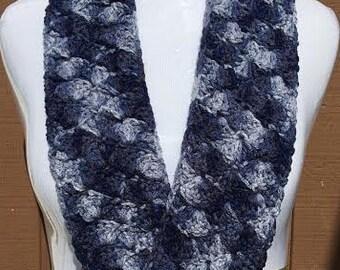 Summer Scarf, Blue Scarf, Blue Crochet Scarf, Blue Denim Scarf, Summer Loop Scarf, Crochet Scarf, Lightweight Scarf, Mobius Scarf