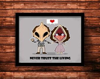 Never Trust the Living, Beetlejuice inspired art print. Adam and Barbara