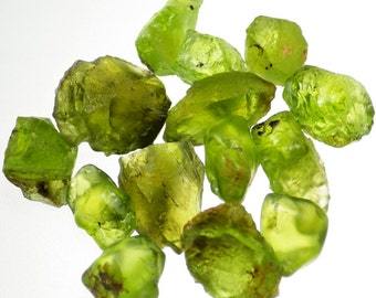 Peridot/Olivine-Arizona 59.67 Ct TW Natural Blocky Crystals with Some Pieces Partially Tumbled for Higher Yield-Mostly Clean-Top Facet Grade