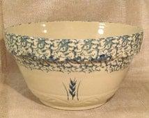"14"" Robinson Ransbottom Roseville Pottery Mixing Bowl-Blue Spongeware Wheat Sprig Sunrise Pattern Cream Bowl-Marked Roseville Ohio 305"