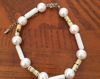 Stone and Pearl Bracelet