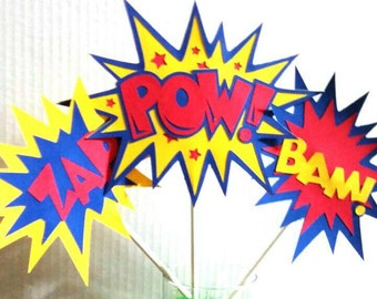 Super Hero party centerpiece,  3 piece set