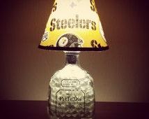 Handmade LED Pittsburg Steelers vs. Patron Tequila Liquor Bottle Lamp