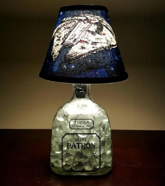 Handmade LED Millennium Falcon vs. Patron Tequila Liquor Bottle Lamp.