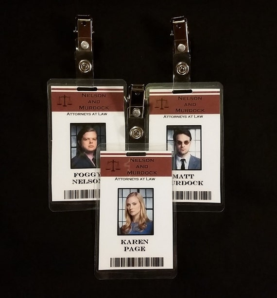 Nelson and Murdock ID badges
