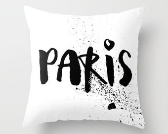 Velveteen Pillow - Paris Pillow - Paris Decor - Black and White Pillow - Modern Decorative Pillow - Paris Cushion Cover - Gifts for Her