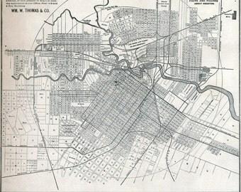 1890 Map of Houston Texas