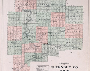 1902 Map of Guernsey County Ohio