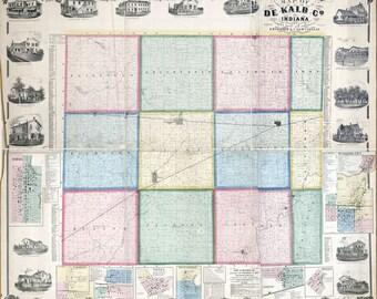 1863 Farm Line Map of De Kalb County Indiana Waterloo City
