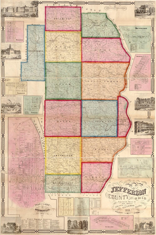 1856 Map Of Jefferson County Ohio Farm Line Map Genealogy