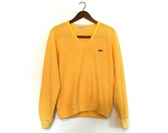 Vintage Lacoste v-neck pullover  / 1970s 1980s Lacoste hipster sweater / 70s grandpa sweater / preppy Lacoste v-neck pullover crocodile