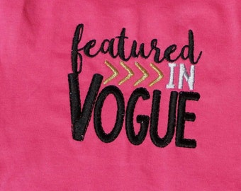 Featured in Vogue Embroidered Shirt/bodysuit/Romper, vogue embroidery, baby girl, toddler girl, toddler romper, girl embroidery,