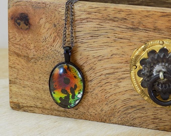 Sunset Moth - Real Butterfly Wing Necklace