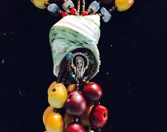 Mescal seeds Blessed Mother WaterWoman's road of life necklace