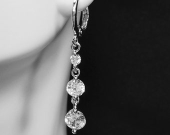 "925 Sterling Silver Earrings Cubic Zirconia 1 1/2"" Dangle"
