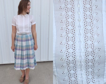 1950s white eyelet blouse / 50s blouse / vintage blouse / white button up shirt / small