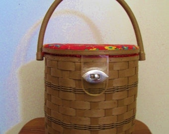 Vintage Brown Woven Singer Sewing Basket w/Handle-Retro Cloth Lid-Japan