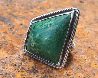 Vintage Mexican silver and turquoise ring with large kite shaped stone