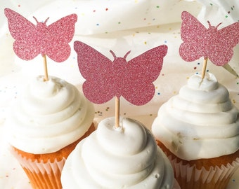 Pink Glitter Butterfly Cupcake Toppers • Birthday • Baby Shower • Food Pick