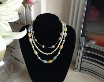Vintage Set of 3 1950s Glass and Pearl Necklaces
