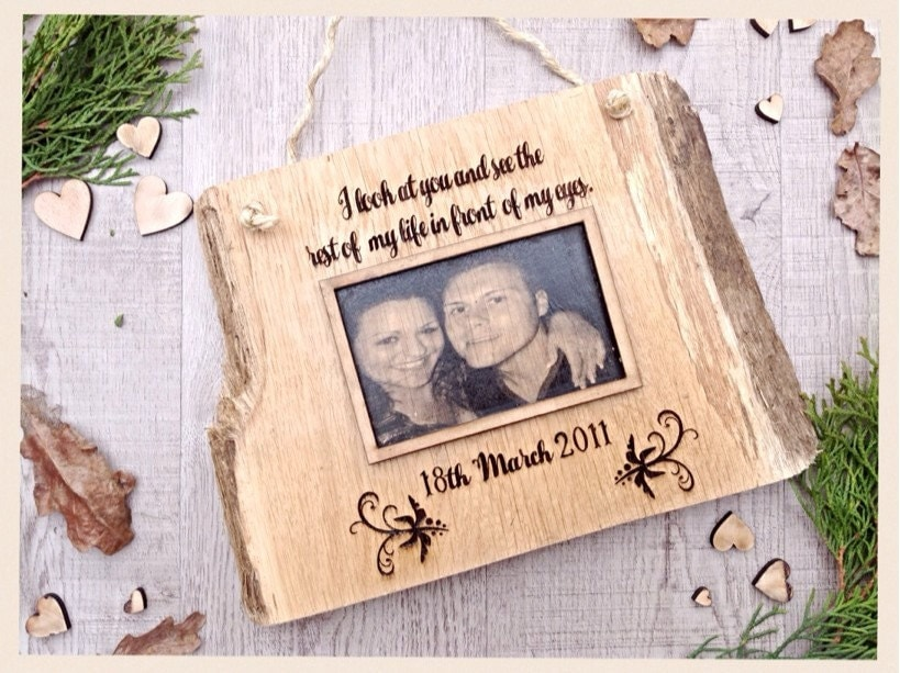 Wedding Date Picture Gift: 5th Anniversary Gift ,wooden Anniversary ,wooden Plaque