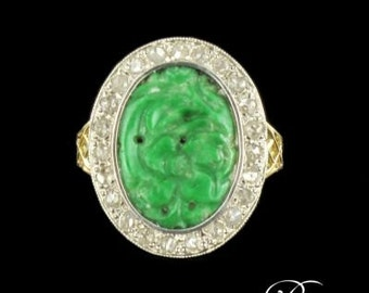 19th diamond 18K Yellow Gold jade ring