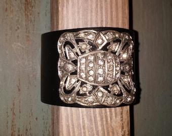 Art Deco Cuff Black Leather