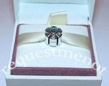 Beautiful Hand Crafted Genuine 925 Sterling Silver Sparkling Sky Blue Flower Snowflake Bracelet Charm for Pandora Bracelets