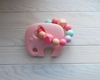 Pink Elephant Teether, BPA Free, Silicone Teething Ring, Teething Toy, Silicone Teether, Baby Teether, Baby Shower Gift,