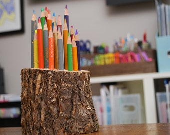 Rustic Wood Pencil Holder