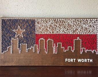 Fort Worth Skyline String Art