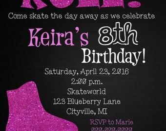 Rollerskate Birthday Invitation