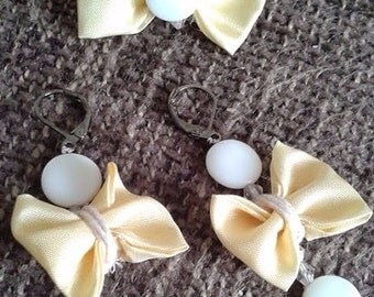 Ring and earrings silk with pearl Papilau