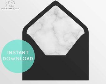 Envelope Liner White Marble / Printable Envelope Liner / Any Size Envelope / Instant Download / DIY Envelope Liner / Wedding Envelope Liner