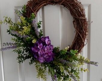 Spring Wreath. Summer Wreath.Front Door Wreath.Casual Wreath. Spring Hydrangeas.Purple Plum Wreath.Everyday Wreath.Mother's Day Gift