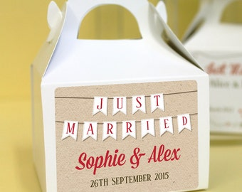 Personalised Wedding Favours / Cup Cake Boxes - Just Married Bunting