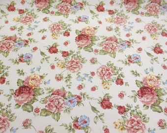 Ivory Vintage Flowers Printed 100% Cotton Canvas Fabric.