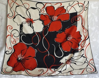 Poppy flower silk scarf in red, cream and black (made in England)