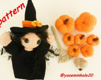 amigurumi hand puppet witch girl, pumpkin,broom (yaseminkale)