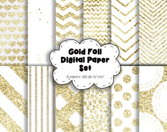 Foil Glitter Pattern Digital Paper - GOLD & WHITE - Glitter Digital Paper - Sparkling Paper – Foil Digital Paper – Sparkle - 300dpi - 12x12