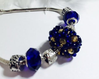 Weaving and Blue Pearl Bangle Bracelet