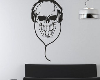 rvz658 Wall Decal Sticker Bedroom Decals Skull Headphones Music