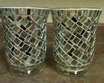 Beautiful Set Of 2 Stained-Glass Decorative Vases