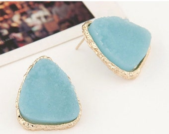 SALE ITEM Pretty Triangle Earrings - Sky Blue/ Turquoise Textured Inset- Summer Beach Fashion Accessory