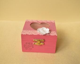 Wooden painted box, mini box with heart, jewellery box, pink box