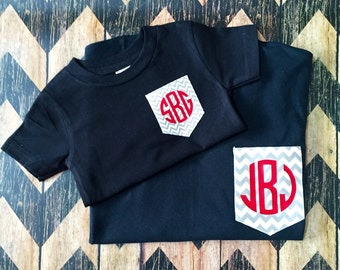 Mommy and Me Monogrammed Pocket Tees
