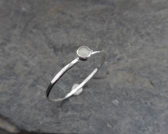 October birthstone ring - Opal Skinny sterling silver ring, hammered, 1.2 mm ring, made at your size. Skinny ring, thin ring, stacking ring.
