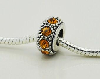 Yellow  Rhinestone Bead, European Bracelet Beads, Bracelet Beads, Charm.