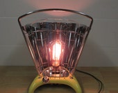 Vintage gas heater desk lamp with filament bulb converted to electric lamp
