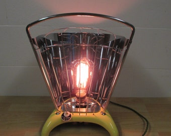 """Vintage """"gas"""" heater desk lamp with filament bulb converted to electric lamp"""